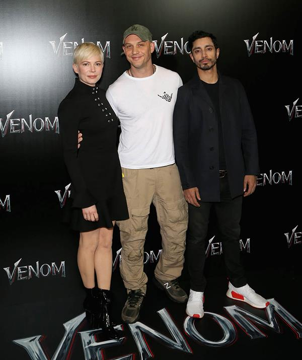 Michelle Williams, Tom Hardy, and Riz Ahmed at the CinemaCon 2018 Gala Opening Night. *(Getty Images)*