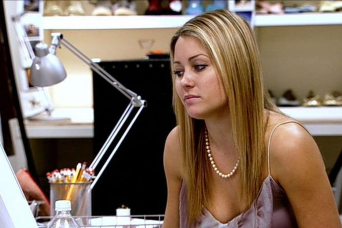 Yep, LC really did love to rock a pearl necklace. And a spaghetti strap.