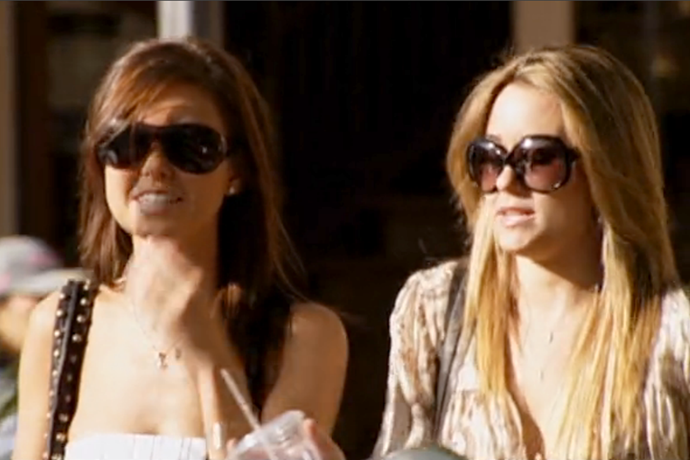 Up there with headbands was Lauren and Audrina's trusty pal - oversized bug-eyed sunnies. What a time to be alive.