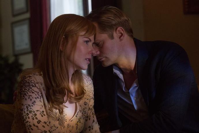 Nicole Kidman and Alexander Skarsgård on the set of *Big Little Lies*.