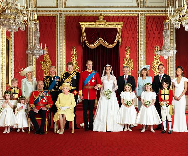 James and the other Middletons pose with the royals for the official wedding photos.