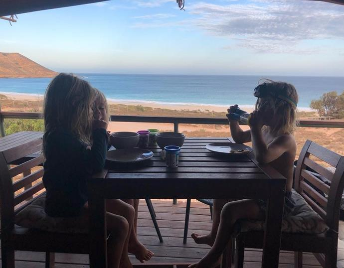 Elsa took a sneaky snap of all three kids during their holiday to Western Australia.