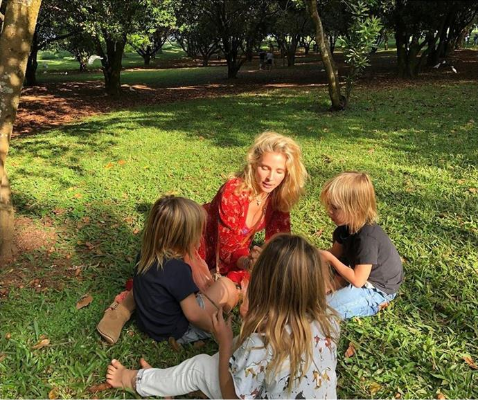 We adore this candid snap of Elsa and the kids - reckon Chris was behind the lens?