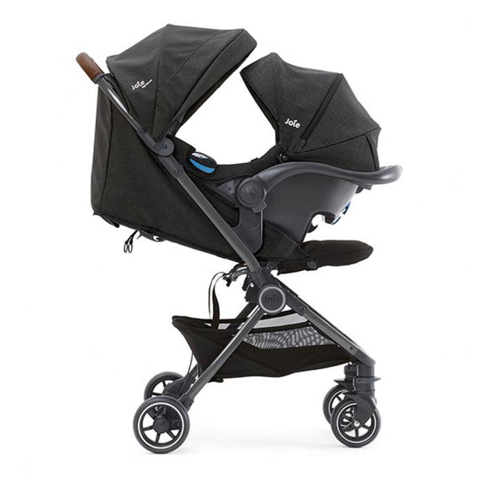 The Joie Pact Flex Signautre is a luxe and lightweight stroller with a tiny fit-anywhere flat fold.