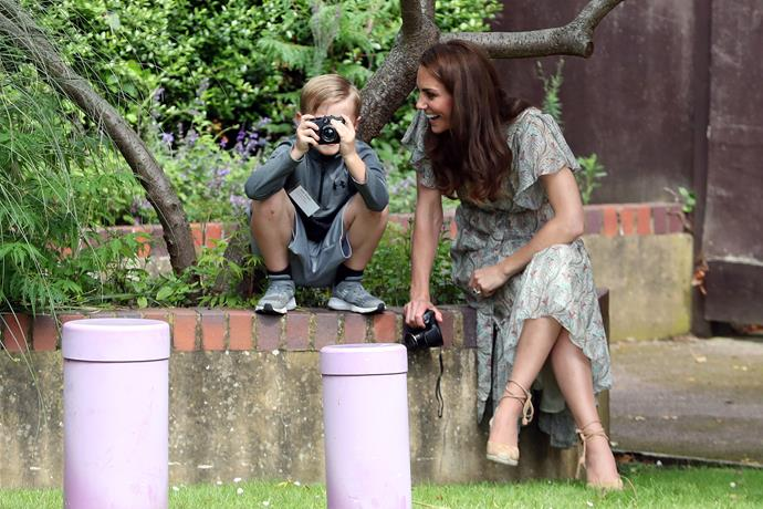 Too cute! Kate's found herself a keen young snapper!