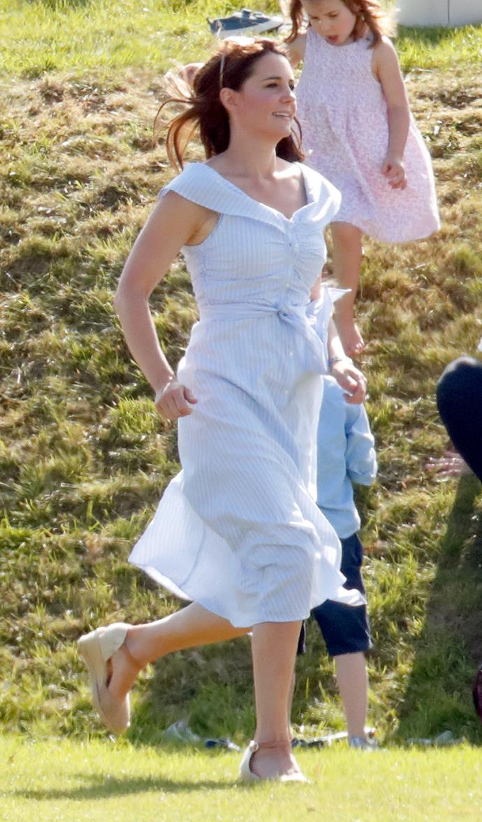 Kate's a known fan of the humble wedge heel - and she proves you can literally do anything in them!