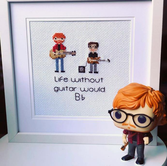 """Life without guitar would B-Flat"". Jo's cross-stitch for her son, Christian, featuring Ed Sheeran!"