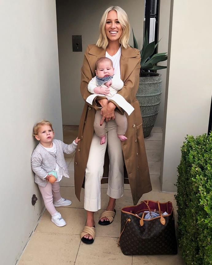 Phoebe with Billy and Poppy wearing a head-to-toe outfit by Bassike.