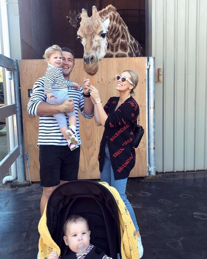 Phoebe and Sam with their kids at Taronga Zoo.