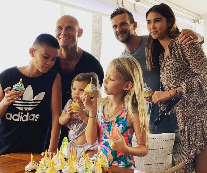 Michael Klim with Lindy's second husband Adam, posing with Lindy and Michael's three children, and his
