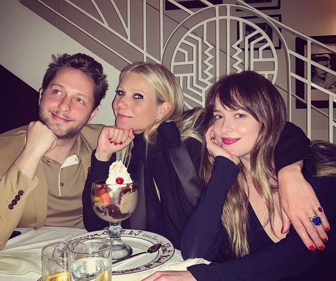 Gwyneth enjoying a fun night out with Chris' partner Dakota Johnson, along with New York writer Derek Blasberg.