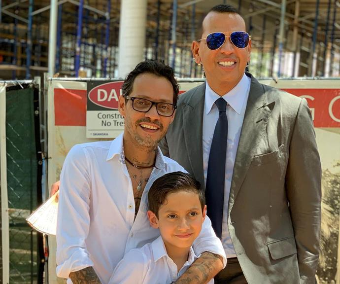 The 49 year-old singer shared this picture of her ex Marc and fiance A-Rod smiling side-by side.