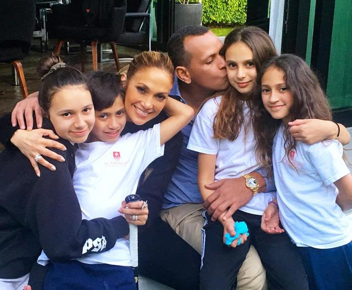 JLo and A-Rod with their children.