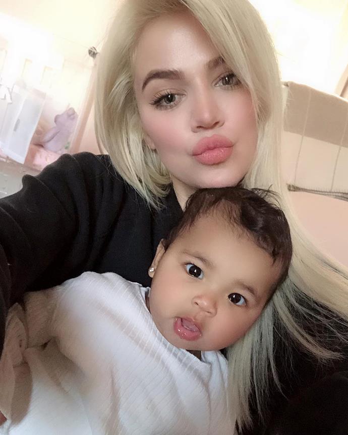 Tristan posted this cute selfie of True and Khloe on Instagram for Khloe's birthday.
