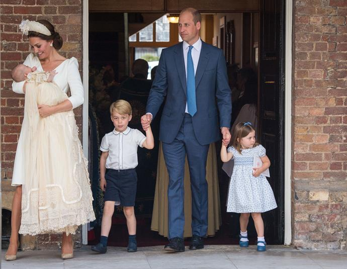 """**Prince Louis** <br><br> In July 2018, [Prince Louis was christened](https://www.nowtolove.com.au/royals/british-royal-family/prince-louis-christening-every-photo-49774
