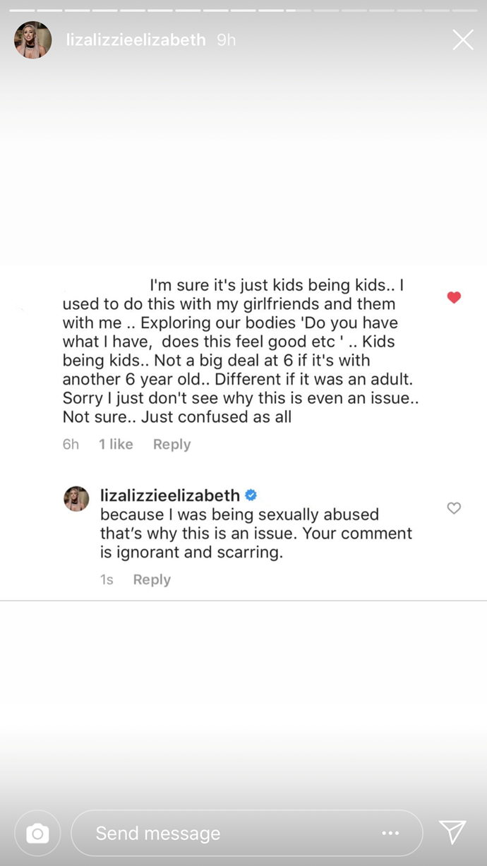 """Your comment is ignorant and scarring,"" Lizzie said."