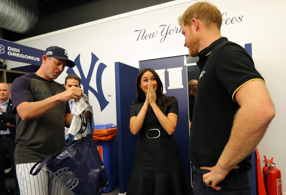 Meghan was clearly surprised at the adorable gift for Archie. *(Image: Getty)*