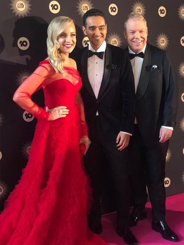 *The Project* cast have made a dazzling entrance - we can't stop looking at Carrie Bickmore's incredible red dress! Waleed Aly and Peter Helliar also scrub up well!  With *The Project's* 10th anniversary fast approaching, Gold Logie nominee Waleed admitted on the red carpet that his all-time favourite moment was interviewing Elmo - cute!