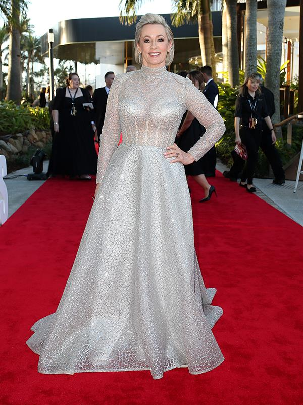 Amanda Keller is a silver siren in this floor-length gown.