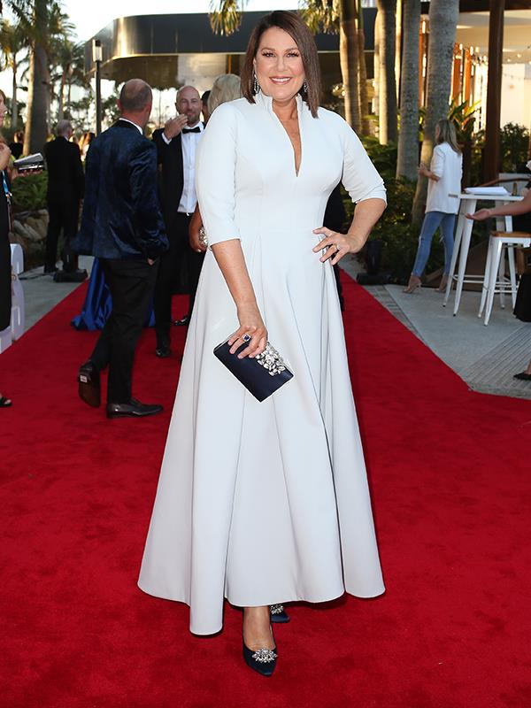 *I'm A Celebrity* host Julia Morris looks gorgeous in a pale grey gown featuring a chic V-neck.