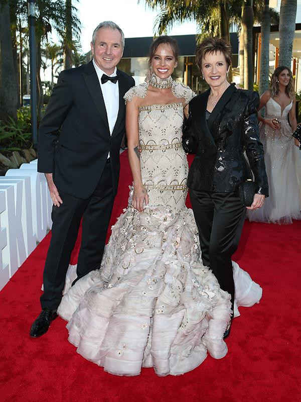 The nominee for Most Popular New Talent arrived with her costars Alan Fletcher and Jackie Woodburne.