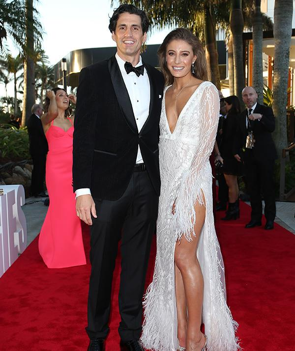 Funny guy Andy Lee and model Bec Harding are quite the power couple tonight! We're drooling over Bec's stunning white gown - another best dressed contender!