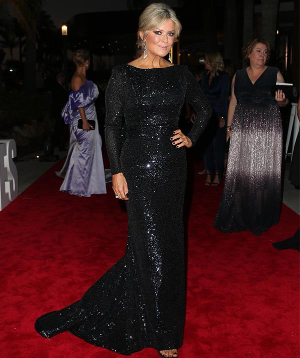 Emily Symons is oozing old Hollywood glamour in this black sequined number.