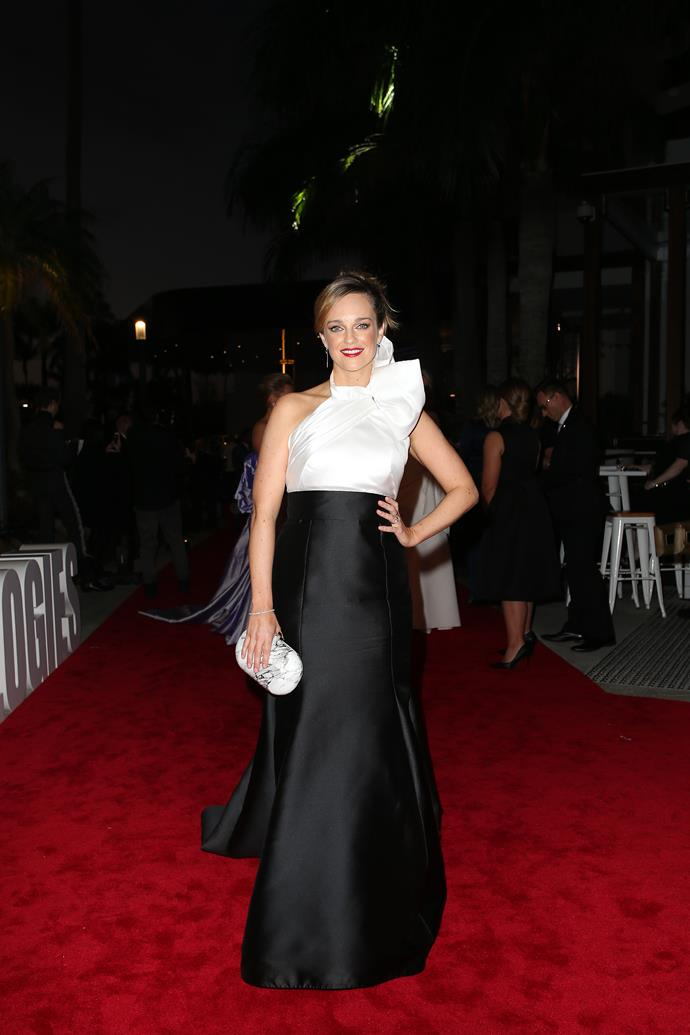 New mum Penny McNamee's monochrome gown is heavenly. We cannot stop staring at this *Home and Away* darling!