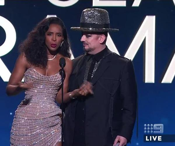 """How hot is my date?"" They may love to battle it out on *The Voice* but Kelly Rowland and Boy George teamed up to present the Logie for Best Drama."