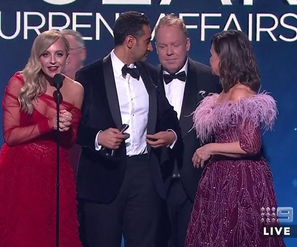 """Obviously didn't think we were going to win. We both wore ridiculous outfits,"" Carrie joked as she, Waleed Aly, Peter Helliar and Lisa Wilkinson picked up their award for *The Project.*"