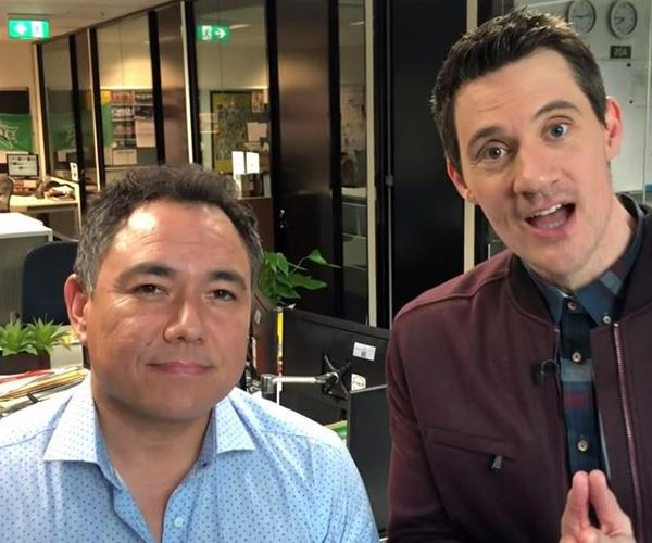 """Stay away from Richard Wilkins!"" They may not have been in the room, but *Have You Been Paying Attention?* stars Sam Pang and Ed Kavalee still managed throw in a few jokes."