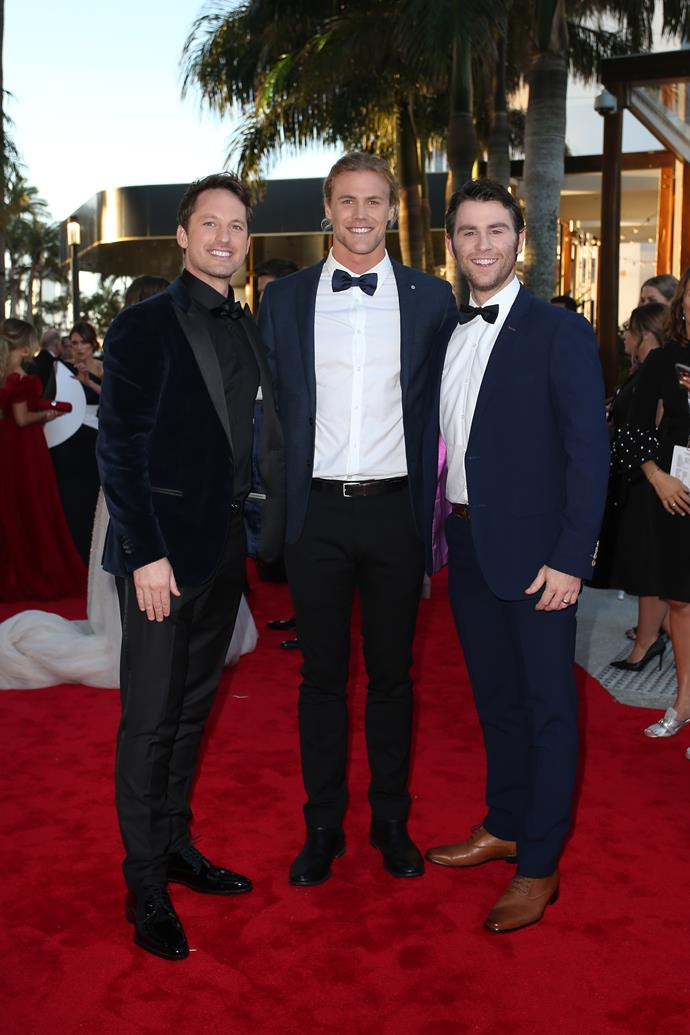 If only they could break into dance! Tristan MacManus, Jett Kenny and Jimmy Rees certainly proved they had the moves on *Dancing With The Stars*, and now they're pulling it off on the red carpet!