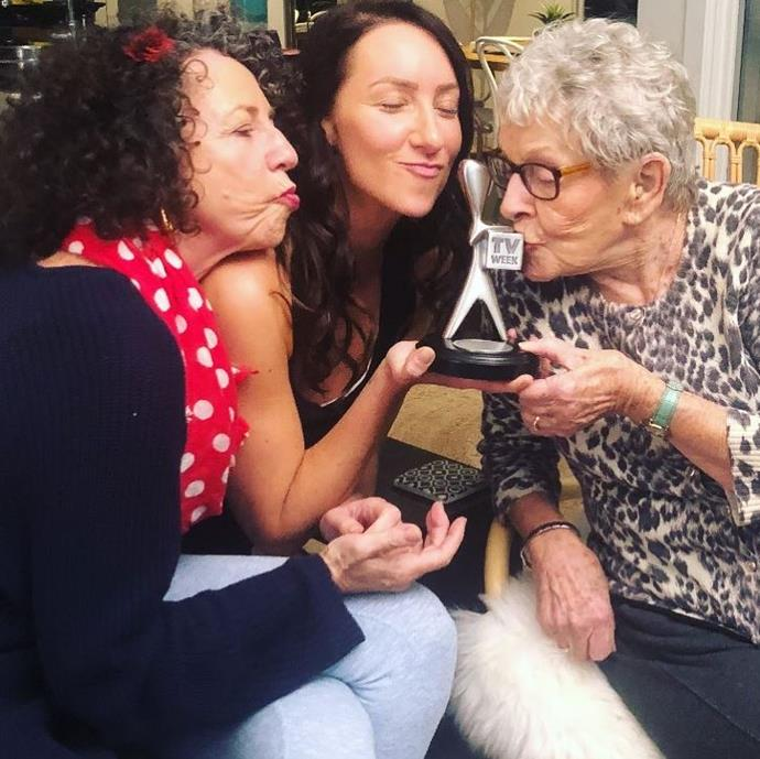 Throwing back to last years Logie win, (l-r) Kerry, Isabelle and Emmie share a kiss with their silver Logie.