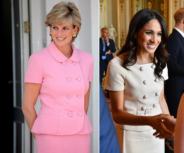 Duchess Meghan replicated the double breasted button look at a Buckingham Palace reception following the final Queen's Young Leaders Awards Ceremony.