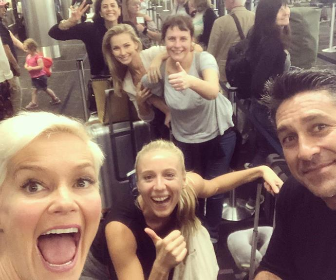 If you can make it through an airport with your mates, you know you've got good ones! The cast pictured in a queue at LAX Airport.
