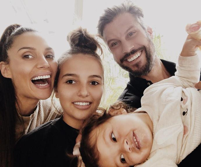 Snezana Markoski with her hubby Sam Wood and her daughter Eve, along with the couple's child Willow.