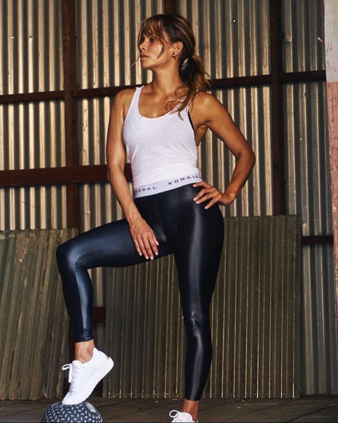 Halle frequently shows off her workouts on #FitnessFriday on her Instagram.