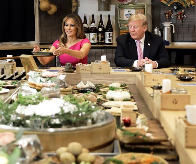 Melania and Donald Trump attending an official dinner in Japan in May.