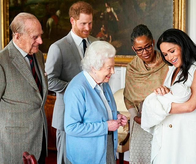 A poignant image of Archie's first meeting with the Queen included Doria as Meghan, Harry and Prince Philip looked on.