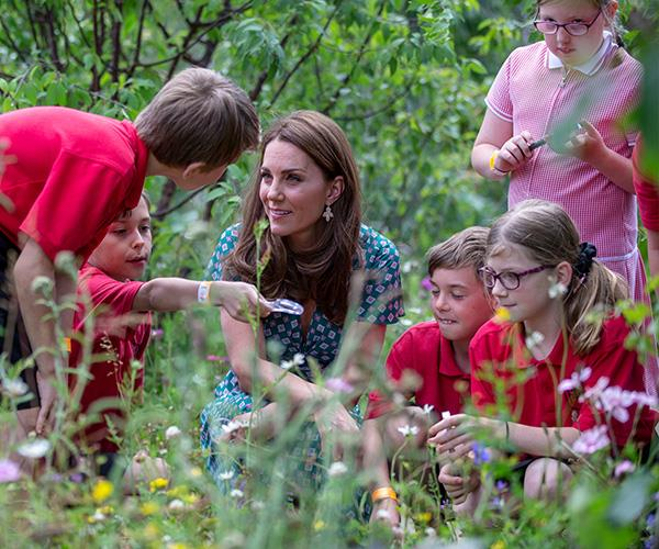Kate had a stunning morning spending time with children at Hampton Court.