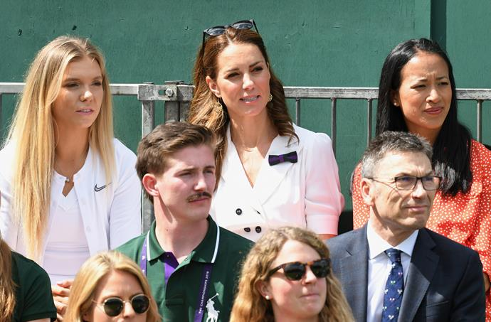 Kate enjoyed the sunshine while watching a women's game unfold.