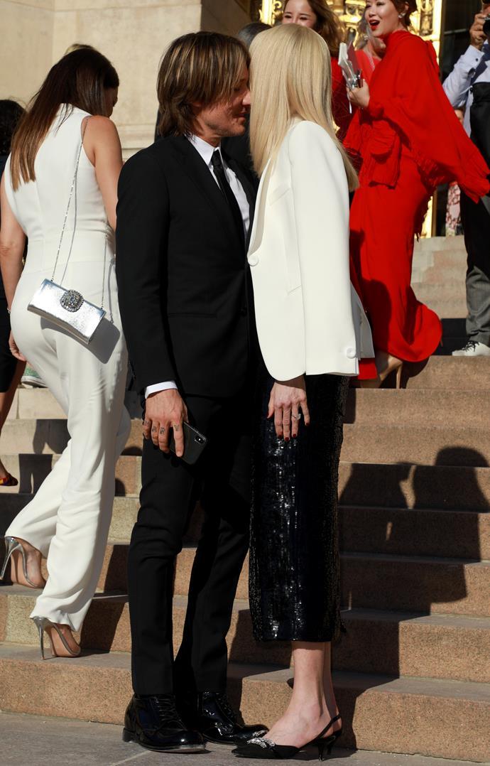 Nicole and Keith arrived at the Giorgio Armani show in Paris.