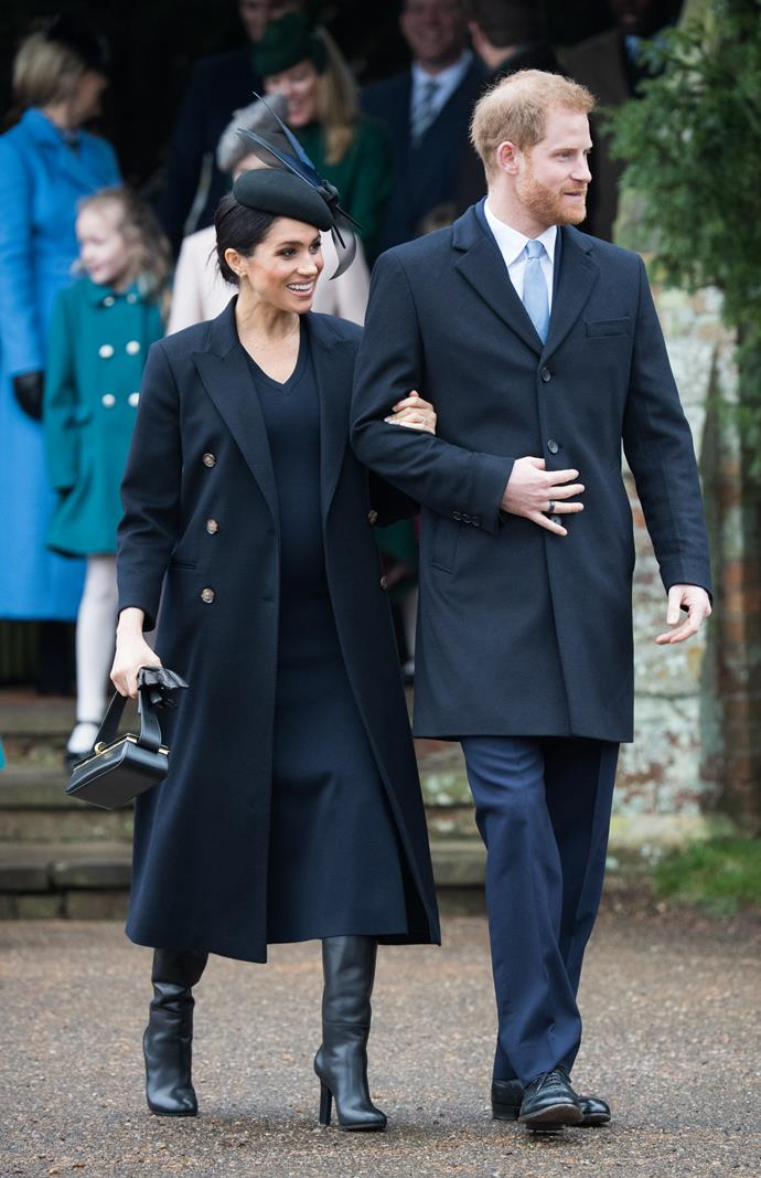 A pregnant Duchess Meghan was glowing as she stepped out on Christmas Day in Victoria Beckham.