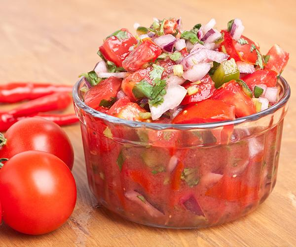 Try whipping up a fresh homemade salsa with fresh tomatoes.