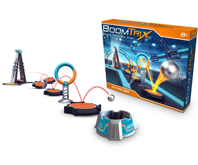 **BoomTrix RRP from $39.99:** Ready to test skills and have fun? Defy gravity with BoomTrix and let the metal balls go from one trampoline to another. The bigger the challenge, the bigger the boom! Use your creativity and set up a track with towers, power action trampolines and a finish. Suitable for kids aged 7+ and available exclusively at Australian Geographic.