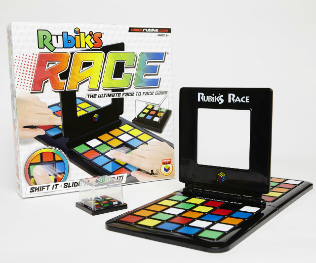 **Rubik's Race RRP $29.99:** This takes your old Rubik's cube to the next level! Rubik's Race is a fun new puzzle game that combines the strategy of the Rubik's Cube with face-to-face play. Shake the Scrambler to create a new Rubik's pattern, then slide the tiles to match the pattern on your board to the one in the Scrambler. The first player to complete the match and slam down the centre frame wins! Suitable for kids aged 8+ and available now at Big W and other leading retailers!