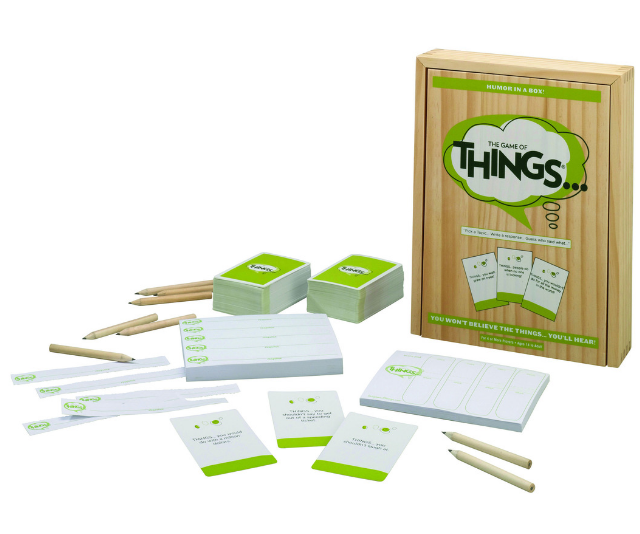 "**The Game of Things RRP $29.99:** Perfect fun for beating the 'I'm boreds', this is a  ""Who-said-what"" game with attitude that presents players with provocative topics like ""THINGS… you wouldn't do for a million dollars"", ""THINGS…you wish grew on trees"", or ""THINGS… your parents forgot to tell you"" and asks each player to write down whatever comes to mind. Pick a topic, everyone writes a response, read them out loud and guess who said what. There are no right answers… There are no wrong answers. Just a lot of laughs. Suitable for kids aged 14+ and available at Big W and other leading retailers."