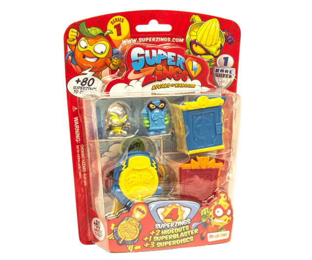 **SuperZings RRP from $1.99:** Get ready to meet the latest collectible craze! SuperZings are everyday objects brought to life in a comical hero vs. villain theme. There are more than 80 multicoloured characters to collect, each with a matching rival. All living together in Kaboom City, there are 36 regular characters available in two different colour-themes, plus six Silver and two Gold Rare and One Enigma Super Rare SuperZing. . The figures all have their own superpower and profile, use collectible Supercars to get around (eight to collect), and live in Hideouts (eight to collect) which can also be used to launch the characters into the air. Suitable for kids aged 3+ and available exclusively at Kmart.