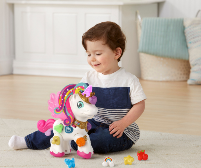 **Magical Lights Unicorn, RRP $39.95:** It doesn't get much cuter than this. Kids can go on a bi-lingual adventure with the super sweet Magical Lights Unicorn which teaches them English AND French! Place the seven charms on any of the three magic hearts to see her horn light up and hear colours, objects and phrases in either language. Use the charms to answer quiz questions or add sound effects to create your own special song. Squeeze the unicorn's tail to see her beautiful wings flap and hear whimsical phrases and sound effects that encourage imaginative play. Her majestic hooves feature wheels so you can push her as you head off on your next adventure. Suitable for toddlers from 18 months, and available at Target.