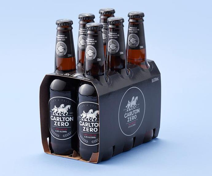 **CARLTON ZERO** <br><br> Alcohol-free beer is officially a thing! If you can't get enough of the classic Carlton flavour but don't want the alcohol, you can pick up a six pack of these from your local bottle shop.  <br><br> *$8.95 for a six-pack, $33.95 for a case of 24, Dan Murphy's*